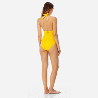 Women One piece Solid - Women triangle one piece swimsuit Ecailles de Tortue, Mango backworn