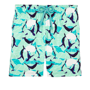 Boys Classic / Moorea Printed - Boys Stretch Swimwear Magic Whales, Lagoon front
