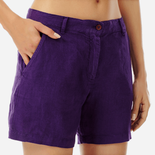 Women Others Solid - Women Linen Bermuda Shorts Solid, Reddish purple supp1