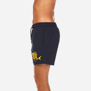 Men Embroidered Embroidered - Prehistoric Fish Placed Embroidery Swim shorts, Navy supp3