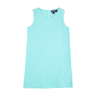 Girls Others Solid - Girls Linen Jersey Dress Solid, Lagoon front