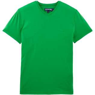 Men Tee-Shirts Solid - Solid V-neck Mercerized cotton T-Shirt, Meadow front
