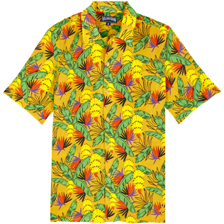 Men Others Printed - Men Bowling Shirt Cotton and Linen Go Bananas, Curry front