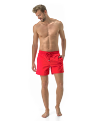 Men Classic Solid - Men Swim Trunks Solid, Poppy red frontworn