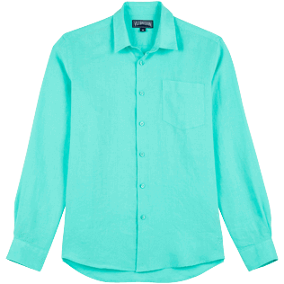 Men Others Solid - Men Linen Shirt Solid, Lagoon front