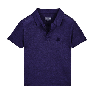 Boys Others Solid - Linen Boys Polo Shirt Solid, Midnight blue front