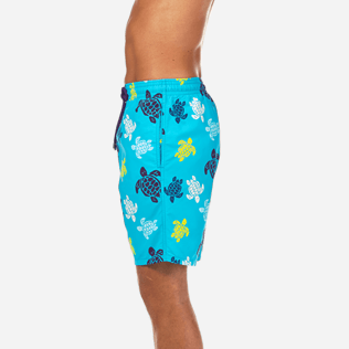 Men Long Printed - Tortues Multicolores Long Cut Swim shorts, Azure supp3