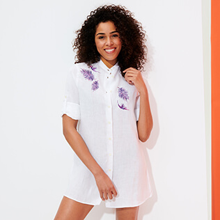 Women Others Embroidered - Women Linen Shirt Dress Embroidery Madrague, White frontworn