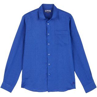 Men Others Solid - Men Linen Shirt Solid, Batik blue front