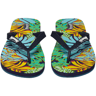 Men Others Printed - Men Flip Flops Jungle, Midnight blue frontworn