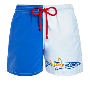 Men Classic Embroidered - Men Swimwear multicolor placed embroidery Vilebrequin squale - Vilebrequin x JCC+ - Limited Edition, White front