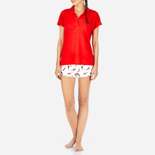Women Others Solid - Solid Linen Jersey Polo, Poppy red frontworn