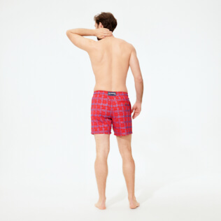 男款 017 绣 - Men Swimwear Embroidered - Limited Edition, Medicis red backworn