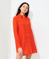 Women Others Solid - Women Linen Shirt Dress Solid, Medlar frontworn