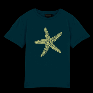 Boys Tee-Shirts Printed - Glow in the dark Starlettes Round neck Tee Shirt, Azure supp1