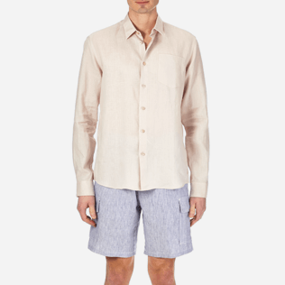 Men Others Solid - Men Linen Shirt Solid, Chalk supp1