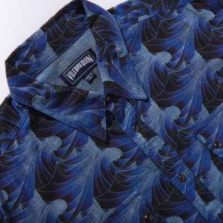 Men Others Printed - Men Chambray Shirt Waves, Navy supp6