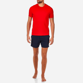 Men Tee-Shirts Solid - Cotton Piqué Solid Tee-Shirt, Poppy red frontworn