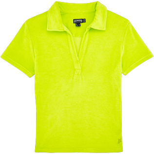 Women Others Solid - Women Terry Cloth Polo shirt Solid, Chartreuse front