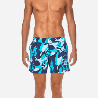 Men Flat belts Printed - Camouflage Turtles Fitted cut Swim shorts, Azure supp1
