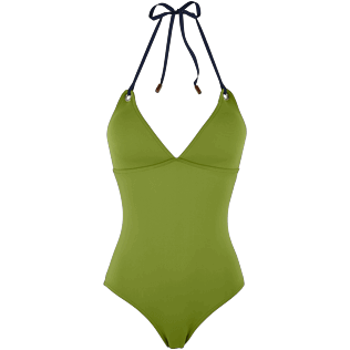 Women One Piece Solid - Women Triangle One Piece Swimsuit Neoprene, Moss front