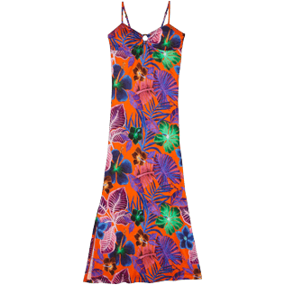 Women Others Printed - Women Long Dress Porto Rico, Bright orange front