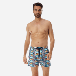 Men Stretch classic Printed - Men Stretch Swimwear Mykonos, Tropezian blue frontworn