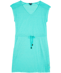 Women Others Solid - Women Linen V collar Dress Solid, Lagoon front