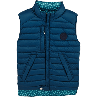 Boys 007 Printed - Kids Reversible Sleeveless Down jacket Micro ronde des tortues, Spray front