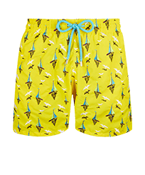 Men Classic Embroidered - Men Swimwear Embroidered Bateaux sur l'eau - Limited Edition, Buttercup yellow front