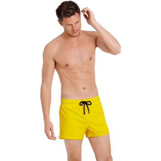 Men Short classic Solid - Men Swimwear Short and Fitted Stretch Solid, Buttercup yellow frontworn
