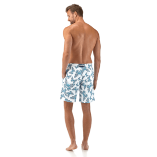 Men Long Printed - Butterflies Superflex long cut Swim shorts, Azure backworn