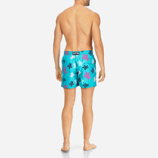 Men Classic Printed - Men Swimwear Multicolor Turtles, Curacao backworn