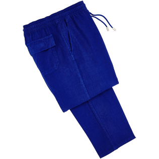 Men Others Solid - Men Linen Pants Solid, Neptune blue front