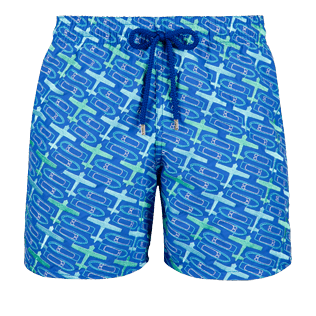 Men 017 Embroidered - Men Embroidered Swimwear St Barth - Limited Edition, Sea blue front