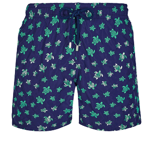 Men Classic Embroidered - Men Swim Trunks Embroidered Micro Ronde Des Tortues - Limited Edition, Sapphire front