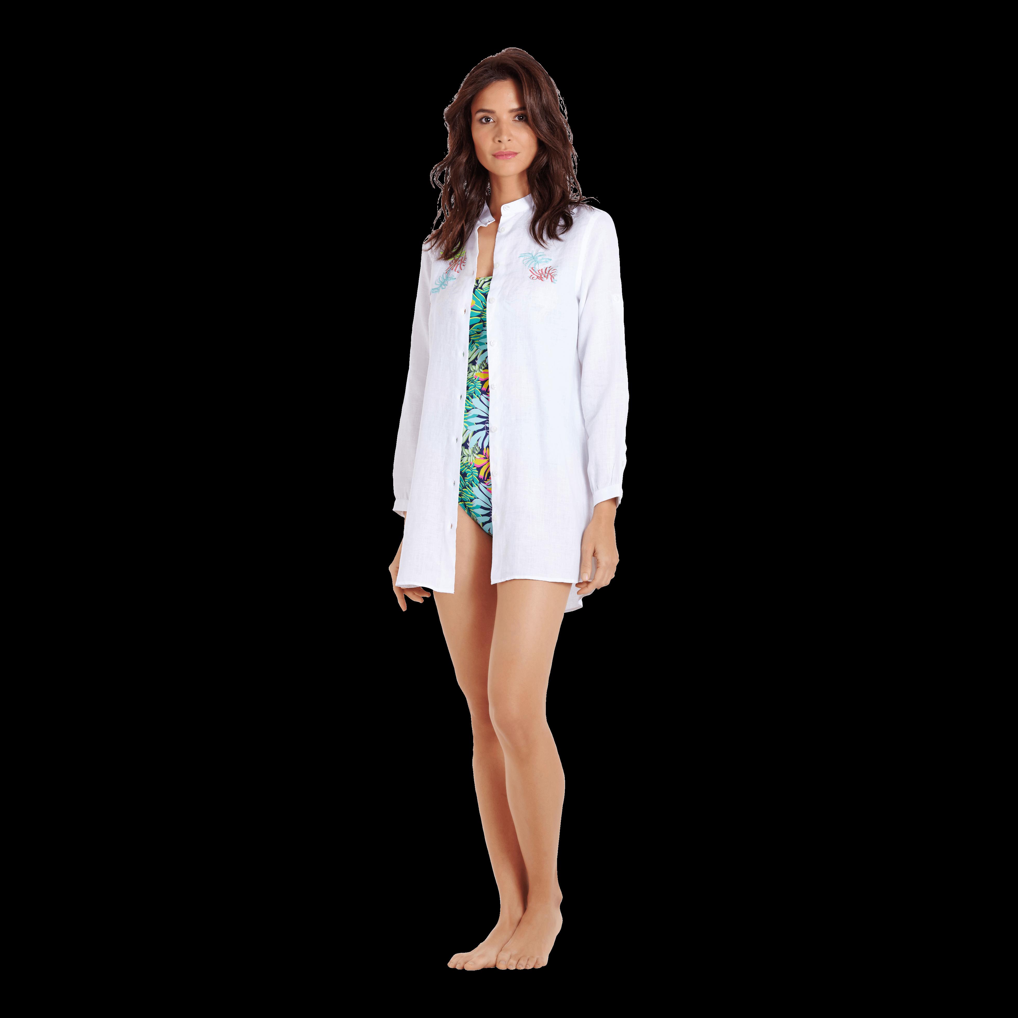 Vilebrequin Women Linen Shirt Dress Jungle In White