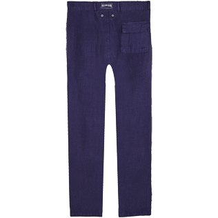 Men Others Solid - Men straight Linen Pants Solid, Midnight blue back