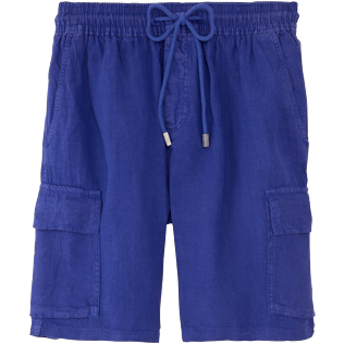 Men Others Solid - Men Cargo Linen Bermuda Shorts Solid, Ultramarine front