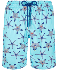 Men Long classic Printed - Men Long Ultra-light and packable Swim Trunks Starfish Dance, Lazulii blue front