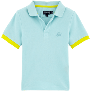 Boys Polos Solid - Solid Cotton pique polo, Frosted blue front