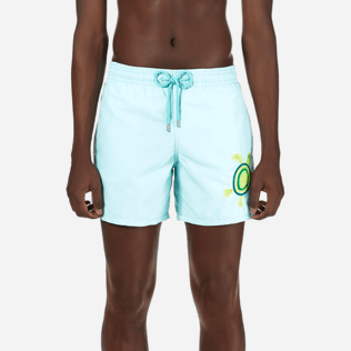 Men Embroidered Embroidered - Men Swimtrunks Placed Embroidery Mosaic Turtles, Lagoon supp1