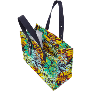 Others Printed - Large Beach Bag Jungle, Midnight blue backworn