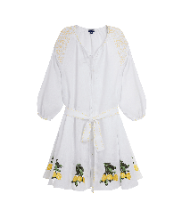 Women Others Embroidered - Women Linen Dress Lemons, White front