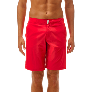 Men Long Solid - Solid Superflex Long fitted cut Swim shorts, Poppy red supp2