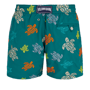 Men Classic Embroidered - Men Swim Trunks Embroidered Ronde des tortues - Limited Edition, Pine wood back