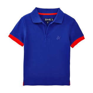 Boys Others Solid - Boys Cotton Pique Polo shirt Solid, Neptune blue front