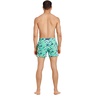 Men Stretch classic Printed - Men Swim Trunks Stretch Sharks - Web Exclusive, Veronese green backworn