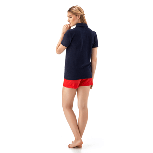 Women Polos Solid - Solid Terry Polo, Navy backworn