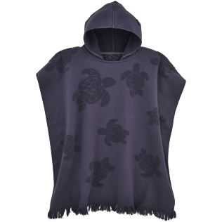 Towels Solid - Jacquard Tortues Poncho in cotton, Navy front